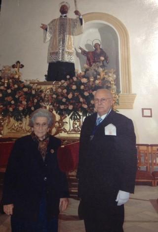 Francisca Gallud junto al cronista oficial de San Javier Miguel Gallego Zapata.
