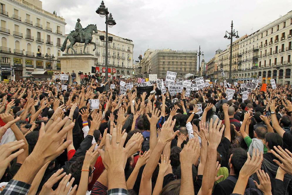 Manifestación en la Puerta del Sol de Madrid.