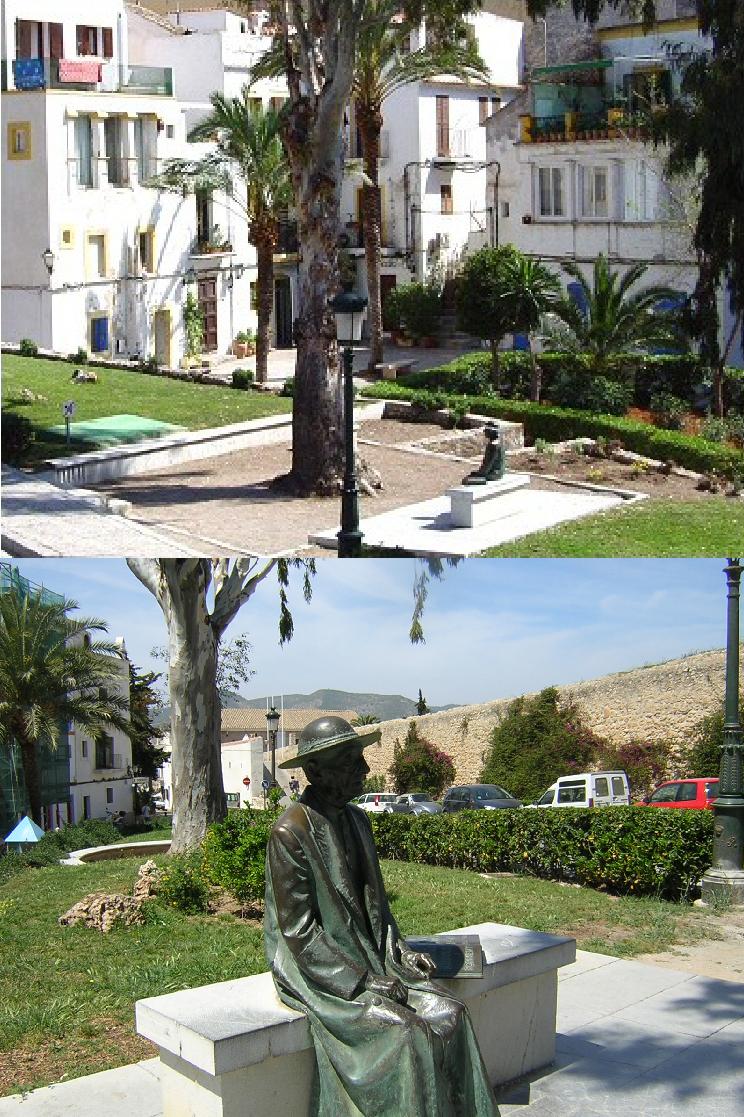 IBIZA. Monumento a Isidoro Macabich en la plaza Sa Carrozza.