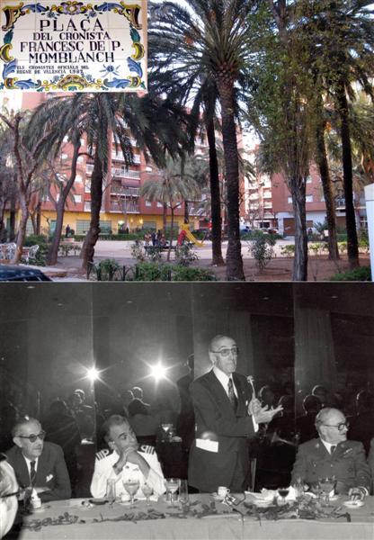 Arriba: Plaza del Cronista. Abajo: pronunciando una alocución, entre otros el Barón de Terratreig. / FOTOS: J. Martí Coronado