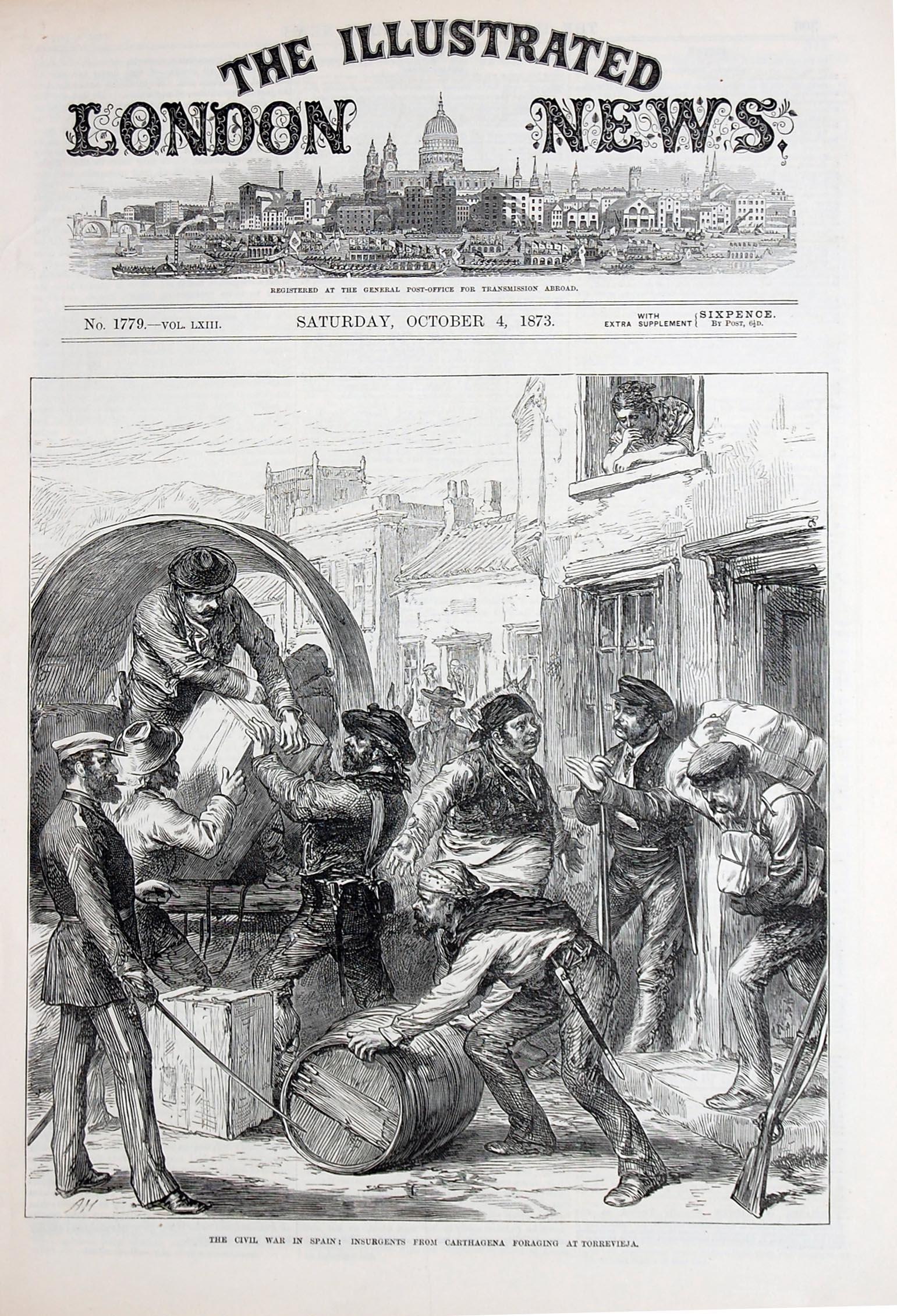 Ilustración del aprovisionamiento de los insurrectos de Cartagena en el almacén de Vicente Castell en Torrevieja. / Portada del 'London News' Número 1.779, 4 de octubre de 1873