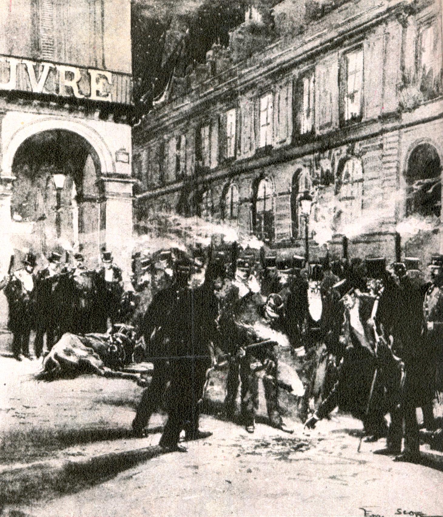 El lugar exacto –esquina de las parisinas calles Rohan y Rivoli- donde estalló la bomba.