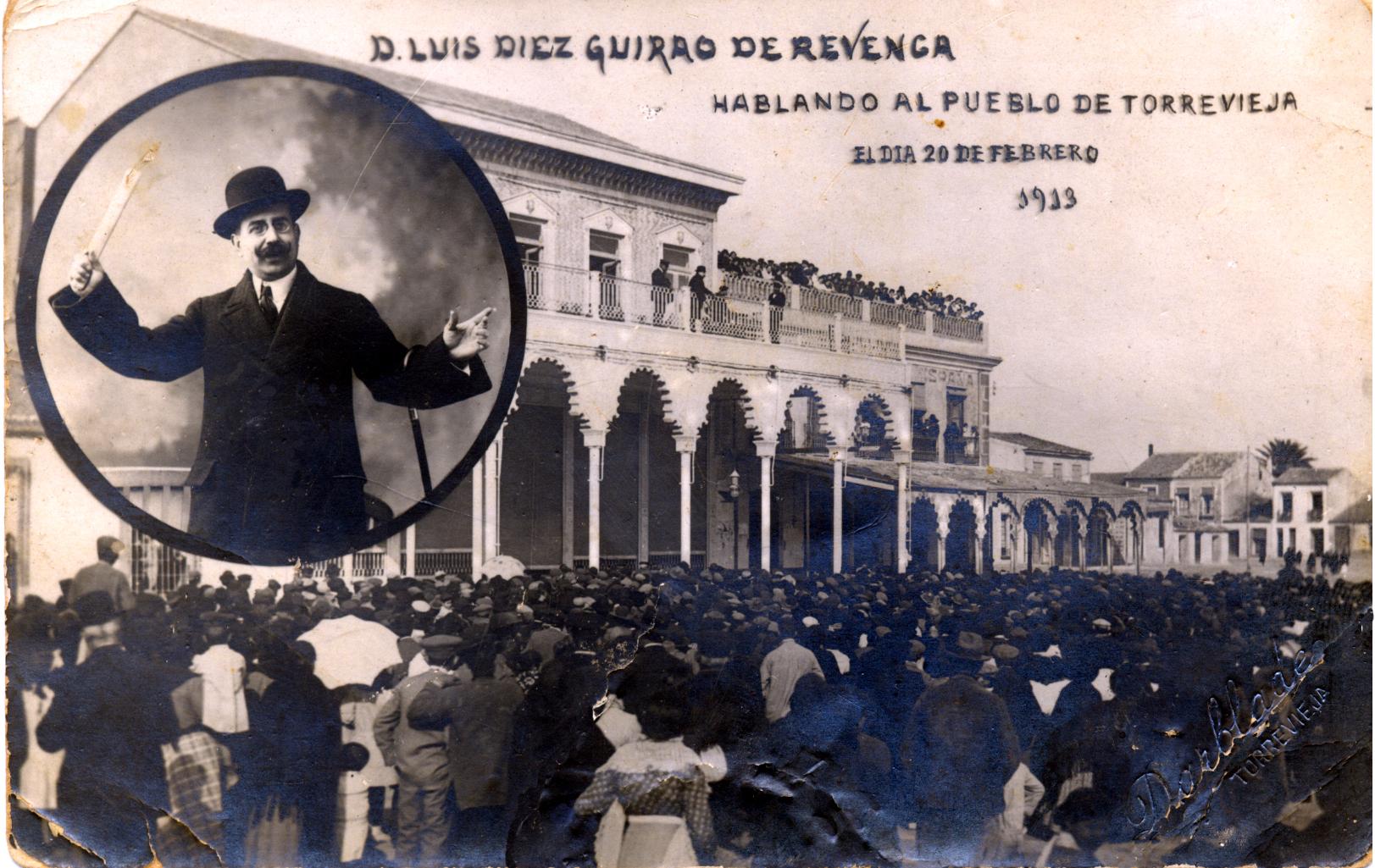 Mítin de Luis Díez Guirao de Revenga desde la terraza del Casino. Torrevieja, 20 de febrero de 1913. / Foto: Alberto Darblade - Colección de F. Sala Aniorte