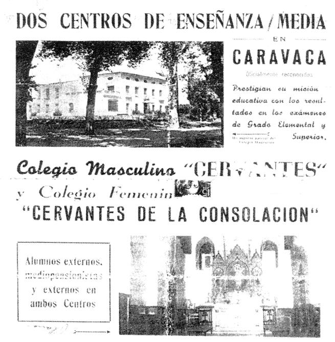 Portada de un folleto de los colegios de E. M. de Caravaca. 1958. / E. N.