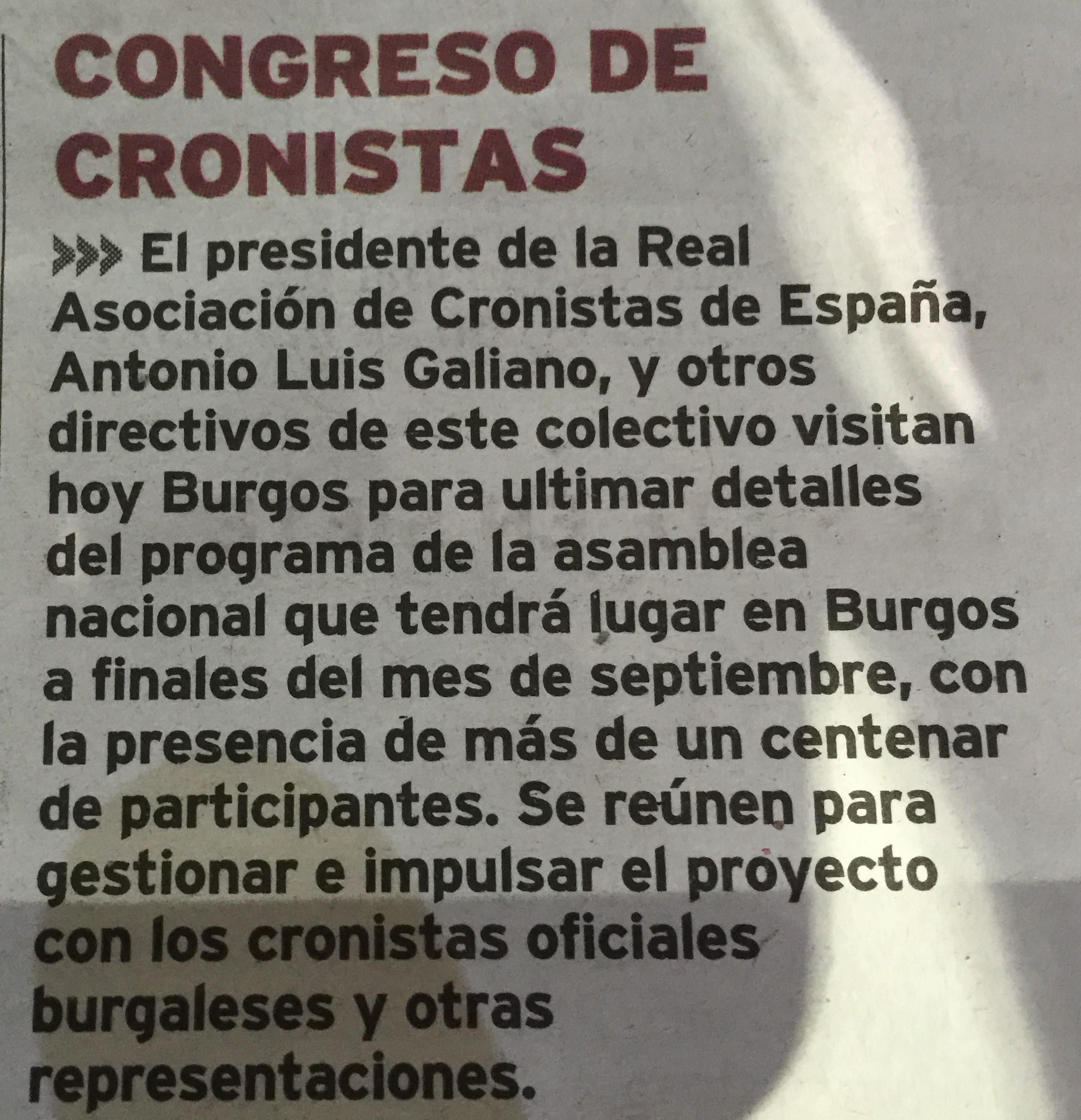 Nota de prensa publicada por el 'Diario de Burgos' el 10 de febrero.