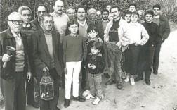 Comida. Hermanos Auroros de la Campana del Carmen, de Rincón de Seca, en febrero de 1990.